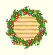 Christmas Wood Background With Holiday Wreath