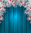 Illustration Christmas Wooden Background With Fir Tree Twigs, Glowing Banner For Happy New Year - Vector