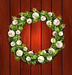 Illustration Christmas Wreath With Balls, New Year And Christmas Decoration, On Wooden Background - Vector stock vector