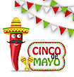 Illustration Cinco De Mayo Holiday Background With Cartoon Character Of Chili Pepper, Sombrero Hat, Maracas, Bunting Decoration With Traditional Mexican Color - Vector