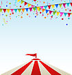Illustration Circus Striped Tent With Flags- Vector