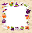 Illustration Clean Card With Colorful Halloween Flat Icons - Vector
