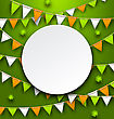 Illustration Clean Card With Party Bunting Pennants And Clovers For St. Patricks Day - Vector