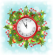 Illustration Clock With Christmas Holiday Decoration, Beautiful Banner - Vector stock illustration