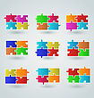 Illustration Collection Abstract Colorful Puzzle Pieces - Vector
