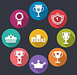 Illustration Collection Of Awards And Trophy Signs, Minimalistic Icons - Vector