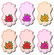 Illustration Collection Beautiful Labels With Roses - Vector