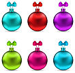 Illustration Collection Christmas Colorful Glassy Balls With Bows Isolated On White Background - Vector stock vector