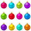 Illustration Collection Colorful Christmas Glass Balls - Vector stock illustration
