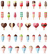 Illustration Collection Different Colorful Ice Creams Isolated On White Background- Vector
