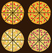 Illustration Collection Of Different Pizza Isolated, Simple Minimalism Icons - Vector