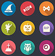 Illustration Collection Flat Icons Of Halloween Symbols, Long Shadows - Vector