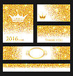 Illustration Collection Of Gleam Cards. Decorative Golden Surfaces - Vector stock illustration