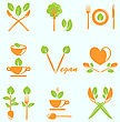 Illustration Collection Of Labels Healthy Eating, Vegetarian Natural Food - Vector