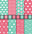 Illustration Collection Of Love And Romantic Seamless Patterns. Valentine Day Backdrops With Pink, Green And White Colors - Vector