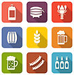 Illustration Collection Minimal Icons Of Beers And Snacks, Long Shadows Style - Vector