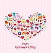 Illustration Collection Of Modern Flat Design Icons For Happy Valentine's Day, Romantic Symbols Arranged In Form Of Heart - Vector stock vector