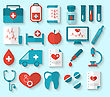 Illustration Collection Modern Flat Icons Of Medical Elements And Objects - Vector