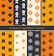 Illustration Collection Seamless Textures For Happy Halloween, Abstract Patterns For Textile - Vector