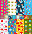 Illustration Collection Seamless Textures For Winter Holidays, Bright Wallpapers - Vector