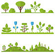 Illustration Collection Set Flat Icons Tree, Pine, Oak, Spruce, Fir, Garden Bush Isolated On White - Vector stock illustration
