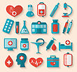 Illustration Collection Trendy Flat Icons Of Medical Elements And Objects - Vector stock vector
