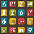 Illustration Collection Trendy Flat Icons Of Medical Elements And Objects - Vector