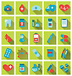 Illustration Collection Trendy Flat Medical Icons With Long Shadow - Vector stock illustration