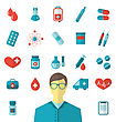 Illustration Collection Trendy Flat Medical Icons Isolated On White Background - Vector stock illustration