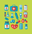 Illustration Collection Trendy Flat Medical Icons - Vector stock illustration