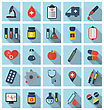 Illustration Collection Trendy Flat Medical Icons With Long Shadows - Vector stock illustration