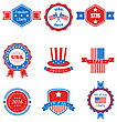 Illustration Collection Of Various Graphics Objects And Labels, Emblems, Symbols, Icons And Badges For Independence Day Of USA. Templates And Design Elements. Isolated On White Background - Vector