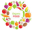 Illustration Collection Of Vegetables And Fruits, Vegetarian Organic Foods - Vector