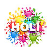 Illustration Colorful Background With Blots For Indian Festival Holi Celebrations - Vector