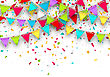 Illustration Colorful Background With Hanging Bunting And Confetti For Your Party - Vector stock vector