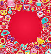 Illustration Colorful Background For Valentine's Day. Flat Valentine Icons, Lock And Key, Gift Box, Candles, Sweet Cupcake, Rings - Vector