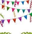 Illustration Colorful Buntings Flags Garlands And Serpentine For Your Party - Vector