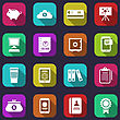Illustration Colorful Business And Office Objects, Flat Icons With Long Shadows - Vector
