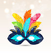 Illustration Colorful Carnival Or Theater Mask With Feathers - Vector stock vector