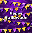 Illustration Colorful Hanging For Triangular String Halloween Party - Vector