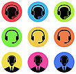 Illustration Colorful Icons Of Call Center And Operator In Headset, Headset - Vector