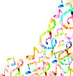 Illustration Colorful Music Background With Treble Clefs And Notes - Vector