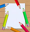 Illustration Colorful Pencils On Paper Sheet Background - Vector