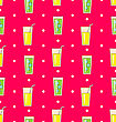 Illustration Colorful Seamless Pattern Or Background With Icons Of Alcohol Drinks And Cocktails - Vector