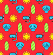 Illustration Colorful Seamless Wallpaper Or Background With Icons Of Sun, Surf Board, Sea Shell, Diving Mask. Summer Pattern - Vector