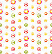 Illustration Colorful Shiny Seamless Pattern With Flowers - Vector