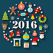 Illustration Colorful Simple Flat Icons With Long Shadows For Happy New Year 2016 - Vector