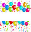 Illustration Colourful Party Balloons, Confetti With Space For Text - Vector stock vector