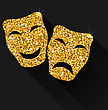 Illustration Comedy And Tragedy Masks With Golden Shimmering Texture For Carnival Or Theatre - Vector