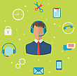 Illustration Concept Of Call Center With Operator Man In Headset , Helpdesk Service - Vector